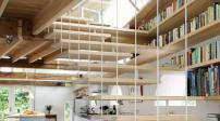 Tủ sách - cầu thang cặp đôi hoàn hảo