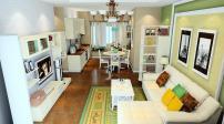 Gợi ý thiết kế nội thất phòng khách liền bếp