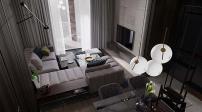 Thiết kế căn hộ 50m2 với tông màu tối cá tính