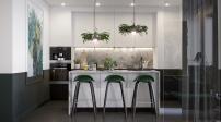 Căn hộ sử dụng nội thất màu xanh rêu tươi mới, sang trọng