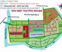 Đất nền dự án Phú Nhuận-PLB, Q9. Sổ đỏ chính chủ, dt 288m2, giá 21tr/m2