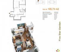 Căn 08 tòa G2 Five Star Kim Giang, 3PN + 2WC, diện tích 105,73m2, liên hệ chính chủ: 0941/244/723
