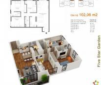 Cắt lỗ căn 11g2 chung cư Five Star Kim giang, dt 102,6m2, 3 ngủ, giá 25tr/m2