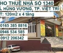 Cho thuê dài hạn nhà 1340 ĐL Hùng Vương, P. Tiên Cát, Việt Trì, Phú Thọ, 01653858816