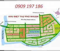 Bán đất biệt thự dự án Phú Nhuận, Q. 9 góc 2 mặt tiền, giá 23 triệu/m2, LH 0909 197 186