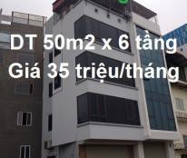 Cho thuê nhà 6 tầng MP 254 đường Bưởi; 50m2; 35 tr/tháng; 0912856737