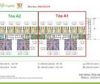 Bán gấp căn góc 16.10 tòa A1 chung cư Ecolife Capitol, dt 75.9m2, 2pn, giá bán bằng gốc
