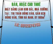 Cho thuê kho, nhà xưởng, đất tại thị trấn Đồng Văn, Hà Nam, diện tích 900m2