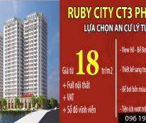 Mở bán chung cư Ruby City CT3, 800 tr/căn
