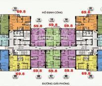 Bán chung cư CT36 Định Công, 59.8m2(2 ngủ, 2 wc) tầng đẹp giá chỉ 21tr/m2. Lh 0934542259.