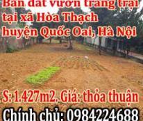 Bán đất vườn trang trại, tại xã Hòa Thạch, huyện Quốc Oai, TP Hà Nội.