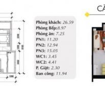 Cần bán nhanh căn góc chung cư cao cấp Oriental Plaza, diện tích 104m2