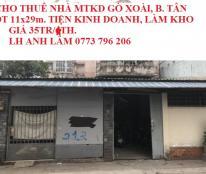 Cho thuê nhà MTKD Gò Xoài, Bình Tân, 11x29m, giá 35 tr/th. LH 0773 796 206