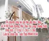 Cần bán gấp nhà 2 tầng số 30, Hồ Xuân Hương, Bãi Cháy, Hạ Long, Quảng Ninh