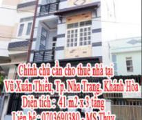 Chính chủ cần cho thuê nhà tại Vũ Xuân Thiều, Tp. Nha Trang, Khánh Hòa