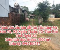 Chính chủ cần bán đất Tại: Cầu Làng Mẹ, Xóm 7A, Xã Nghĩa Thuận, TX Thái Hoà, Nghệ An