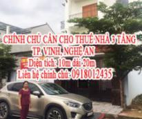 CHÍNH CHỦ CẦN CHO THUÊ NHÀ 3 TẦNG TP. VINH, NGHỆ AN - 0918012435