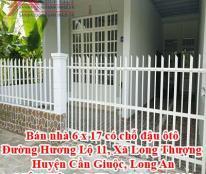 Bán nhà 6 x 17 giá 1 tỷ 650 triệu , có chỗ đậu ôtô Đường Hương Lộ 11, Xã Long Thượng, Huyện Cần Giuộc, Long An
