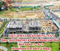 SIÊU PHẨM BẤT ĐỘNG SẢN được giới đầu tư và khách hàng săn đón chiết khấu 5 - 8 % - Homeland Paradise Village