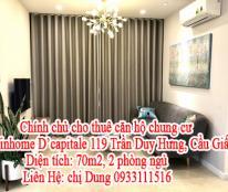 Chính chủ cho thuê căn hộ chung cư Vinhome D'capitale 119 Trần Duy Hưng, Cầu Giấy, HN