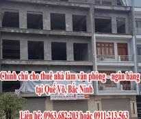 Chính chủ cho thuê nhà làm văn phòng – ngân hàng tại Quế Võ, Bắc Ninh.