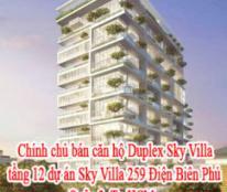 Bán căn hộ chính chủ Duplex Sky Villa tầng 12 dự án Sky Villa 259 Điện Biên Phủ, Quận 3, Tp.HCM