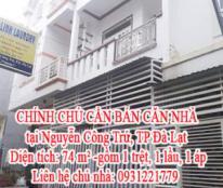 CHÍNH CHỦ CẦN BÁN CĂN NHÀ tại Nguyễn Công Trứ, TP Đà Lạt. Liên hệ chủ nhà: 0931221779.