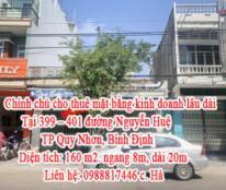 Chính chủ cho thuê mặt bằng kinh doanh lâu dài Tại 399 – 401 đường Nguyễn Huệ, TP Quy Nhơn, Bình Định