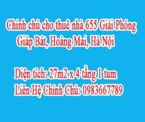 Chính chủ cho thuê nhà 655 Giải Phóng ,Giáp Bát, Hoàng Mai, Hà Nội.