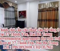 Chính chủ cần cho thuê căn hộ tầng 3 tại 37 Thịnh Yên, Phường phố Huế, Hai Bà Trưng, Hà Nội.