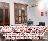 Mình còn 2 phòng trống ở tầng 2 tại số 3B Ngõ 19 Trần Quang Diệu . Có nhu cầu cho thuê lại làm văn phòng .
