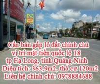Cần bán gấp lô đất chính chủ vị trí mặt tiền quốc lộ 18, tp Hạ Long, tỉnh Quảng Ninh