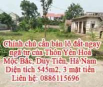 Chính chủ cần bán lô đất ngay ngã tư của Thôn Yên Hoà, Mộc Bắc, Duy Tiên, Hà Nam.