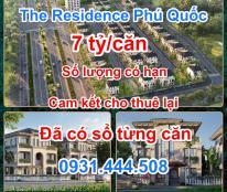 Bán dự án The Residence Phú Quốc cao cấp 4* tại trung tâm Bãi Trường, chỉ với 7 tỷ/căn cam kết cho thuê lại lợi nhuận 80/20.