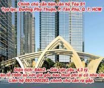 Chính chủ cần bán căn hộ Tòa S1 84m2, 2PN giá 4,3 tỷ đã nhận nhà Dự án Sunshine City Sài gòn.