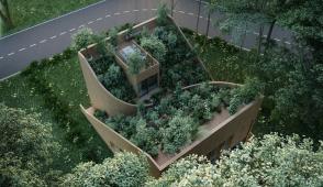 Ngôi nhà độc đáo có vườn trải dài từ tầng một lên mái nhà
