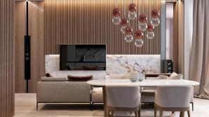 Thiết kế nội thất gỗ kết hợp với đá cẩm thạch