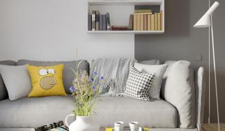 Căn hộ nổi bật nhờ sử dụng khéo léo nội thất màu xám và vàng